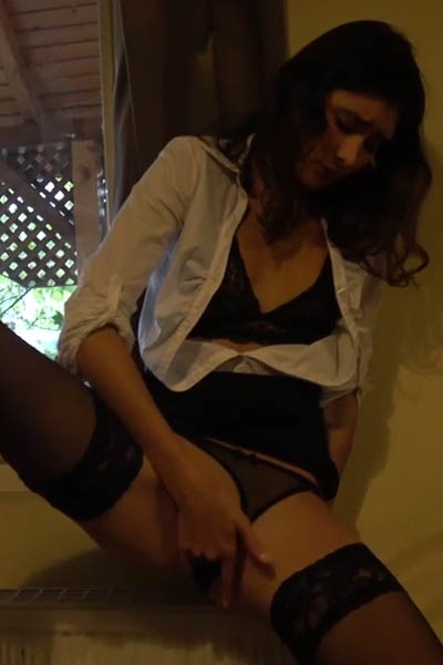 This waitress got horny on the job so she moved her panties aside and masturbate till she cums
