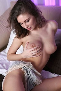 Brunette with amazing curves Galina A teasing all naked in her bedroom