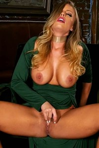 Top class doll with large melons fingers and rubs her hairy pussy till she cums