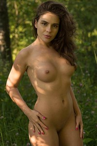 Spend a day outdoors in nature with sexy brunette doll in nude Leda