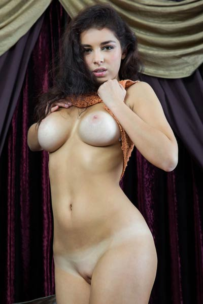Marvelous brunette showcasing her big tasty boobs sweet pussy and hot ass