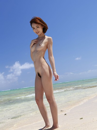Aino Kishi in Walk On The Beach 1 from All Gravure