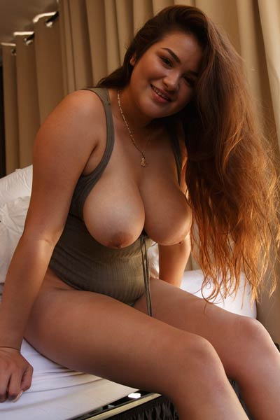 Chubby chick Mercedes Llano takes her sexy and tight bikini of for you