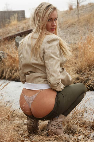 Perfect blonde with perfect combination of cute face and hot body strips off in public