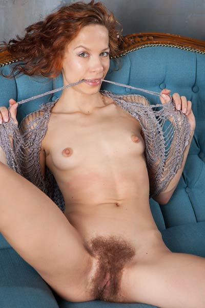 In this photo set Dennie wants to show you her hairy pussy and small tits