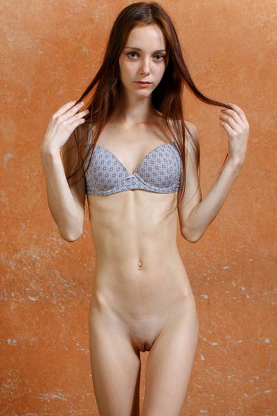 Skinny brunette newcomer Lapa teasing in many different poses