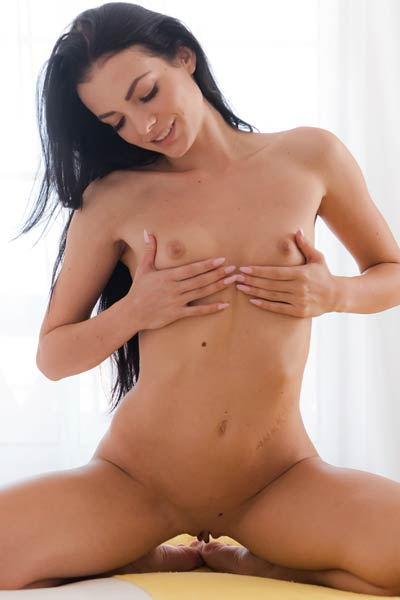 Amazing black haired beauty Sapphira shows it all in her bedroom