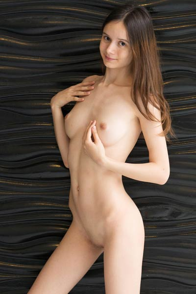 Brunette newcomer is not feeling shy to expose her naked body