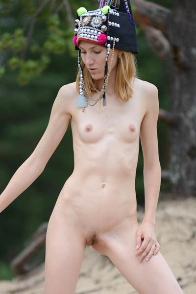 Take a break and get on this secret place where skinny blonde is waiting you naked