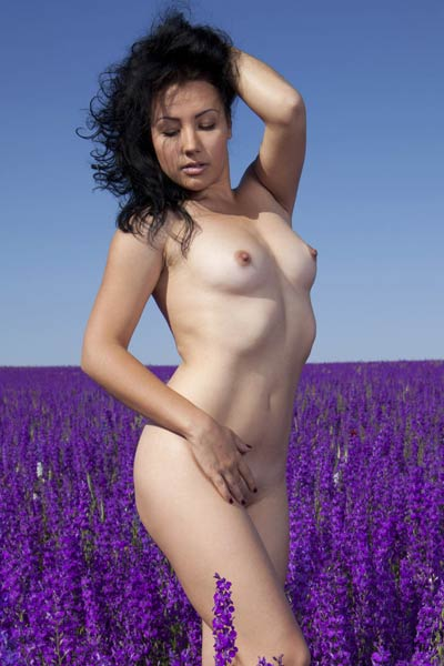 It is just a beautiful day for this small titted babe to enjoy the nature in lavender field