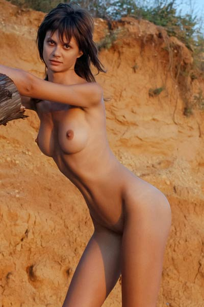 Brunette girl with small tits posing naked outdoors on the beach