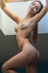 Slava beautiful brown haired babe flashing with her naked perfectly curved body