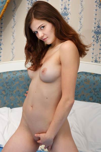 Adorable young brunette Kitri teases her juicy little snatch