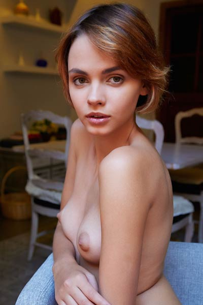 Angelic shorthaired babe will stun you with her sweet body and perfect puffy tits