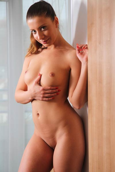 The only thing this cute naked brunette missing is you and your big hard stiff tool