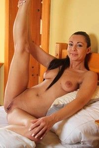 Take a break and get in the bedroom where all natural brunette is waiting you in nude