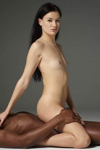 Hot and horny Grace poses naked in an erotic embrace with her man
