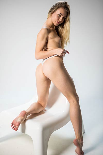 Amazing young chick  with a lot to show goes wild in her solo action