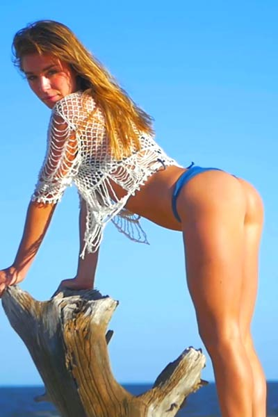Top class model Lily C walking and stripping all over her secret beach