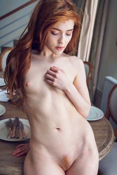 Redhead goddess Jia Lissa lifts up her dress to show us her perfectly trimmed pussy