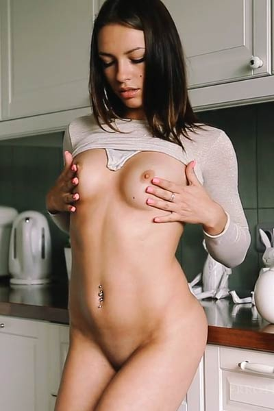 Get in the kitchen and have fun with marvelous brunette hottie Eos