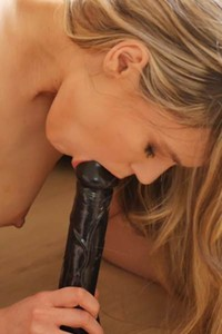 Irresistible blonde Sigy makes her pussy dripping wet as she stuffs it with a big dildo