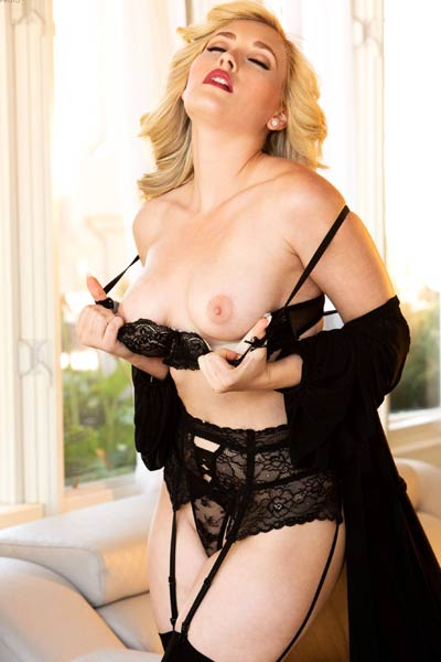 Just imagine this astonishing blonde doll in sexy black lingerie and have fun with your tool