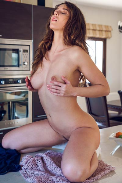 Beautiful brunette doll slowly takes off her underwear to show us her sweet peachy ass
