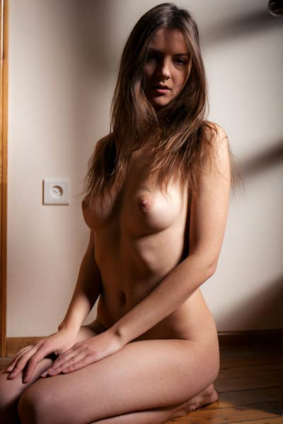 Tempting brunette chick Rebeka Ruby poses naked in the shadows and exposes her assets