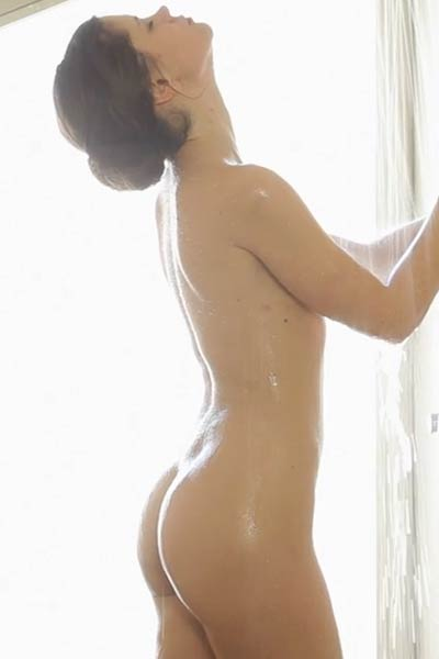 Enjoy this amazing showering action with fabulous brunette babe