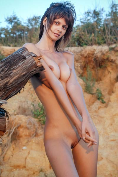 All natural slender babe Nika R poses naked on the sand