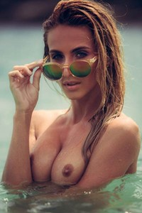 Very attractive girl Cara Mell sets her slender body on fire with sensual posing