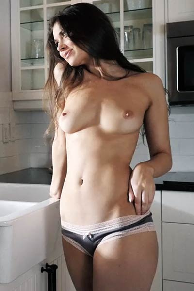 Lovely and lonely doll Murina Fae stripping and teasing in the kitchen