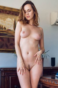 Horny brunette is hiding sexy body and wet pussy undress that dress