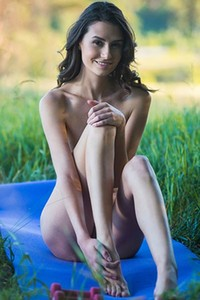 Very sexy brunette Cristin M gets naked and does naked yoga for you