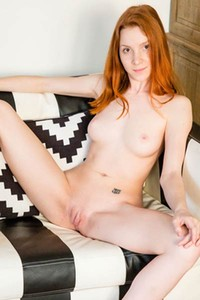 Amberlyn horny redhead pulls up her skirt to show you her tight shaved pussy
