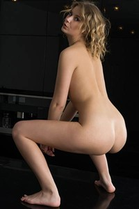 Curly haired blonde gets naked for you showing the real beauty of female body