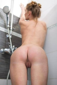Take your clothes off and get under the shower with horny Gerda Y