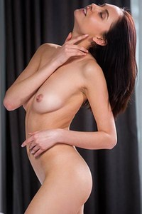 Foxy brunette chick Sade Mare takes off her lingerie showing us her sweet assets