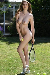 Astonishing brunette goes wild in playing a naked tennis