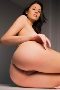 Perky titted brunette goes wild in amazing solo action with sensual undressing and posing