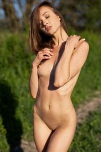 Exotic beauty Vi Shy shows off her sweet pussy as she sensually poses outdoors in nature