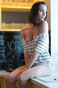 One really joyfull morning in the kitchen for cute small titted brunette doll