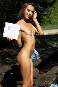 Skinny small titted mpl model Gracie nude in Doodle