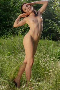 Delightful brunette playfully poses in nature showing us her small tits