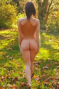 Spend a day in the woods with gorgeous all natural brunette babe