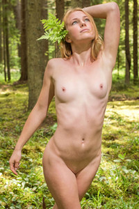 Totally naked slim babe with small tits is in the woods enjoying the nature