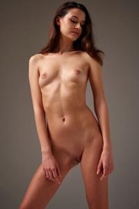 Sensual brunette cutie Cristin elegantly poses naked showing off her slender body