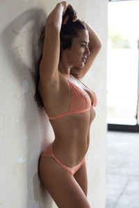 Dazzling babe Madison Walker slips out off her pink lingerie baring her smoking hot body