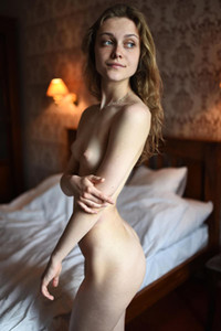 Fabulous curly babe Lika D showing us her sexy naked body with ultra slim waste